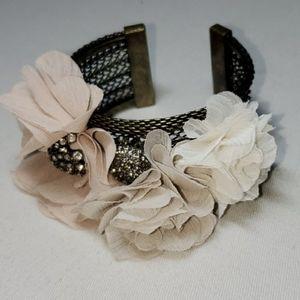 Talbots Silk Flower Cuff Bracelet